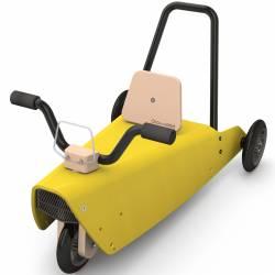 Porteur en bois moto jaune