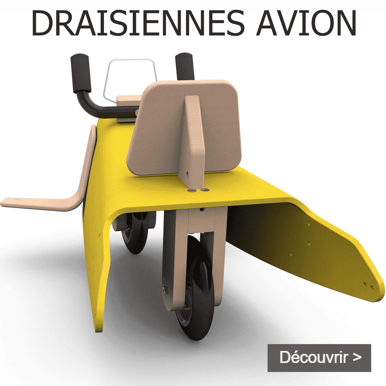 Draisiennes avion en bois fabrication en France pour enfant de 1 à 3 ans